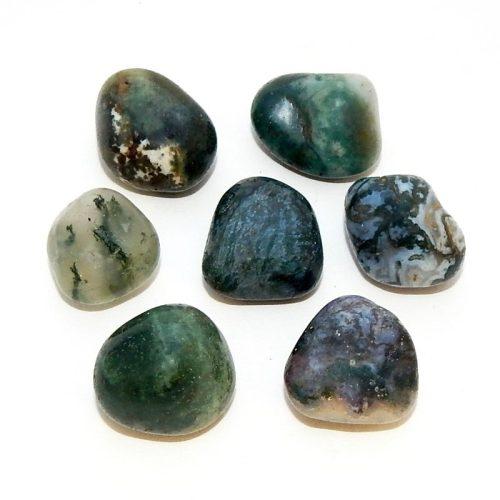 Green Moss Agate tumbled stone