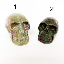 Ruby in Fuchsite Skulls