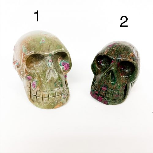 Ruby in Fuchsite Skulls