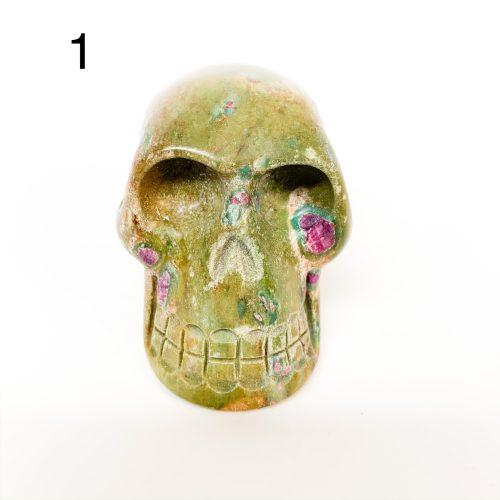 Ruby in Fuchsite Skull Number 1
