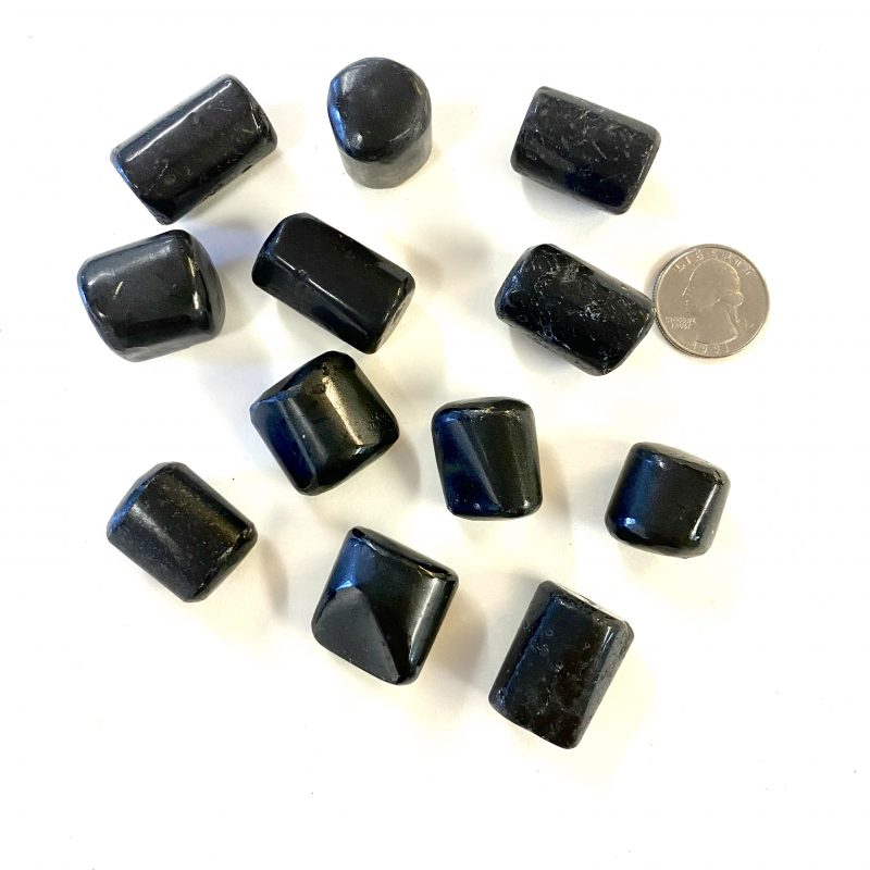 Black Tourmaline Tumbled with Quarter for Scale