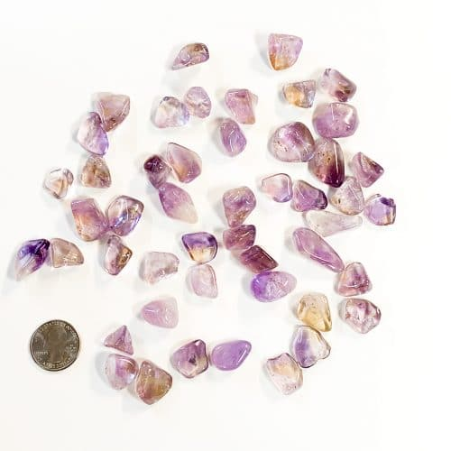 Ametrine Tumbled with Quarter for Scale