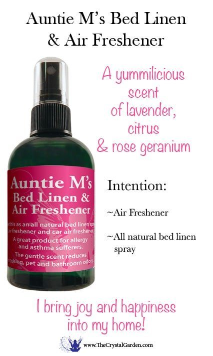 Auntie M's Bed Linen & Air Freshener Spray 4 oz Use this as an all-natural bed linen spray, air freshener and car air freshener. This aromatherapy spray is beneficial for allergy and asthma sufferers. The gentle scent reduces cooking, pet and bathroom odors.