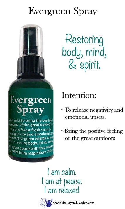 2 oz Evergreen Aromatic spray. Use this forest fresh scent to release negativity and emotional upsets. Allow the emerald-green energy to raise your vibration to restore body, mind, and spirit. Cleanse your space with this antiseptic spray for relief of respiratory challenges.