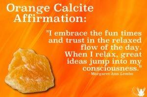 Orange Calcite gemstone Meme Affirmation Margaret Ann Lembo
