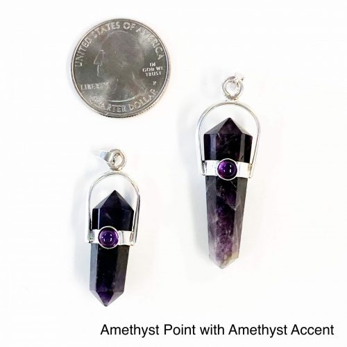Amethyst Point with Amethyst Accent Pendant