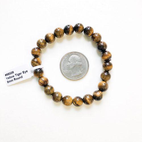 Gold Tiger's Eye Bracelet 8mm with Quarter