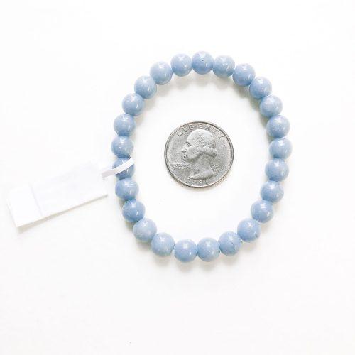 Angelite Bracelet 8mm with Quarter