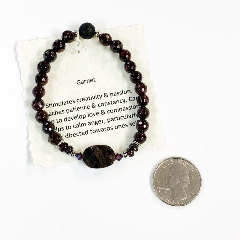 Garnet Bracelet with Aromatherapy Bead with Quarter for Scale