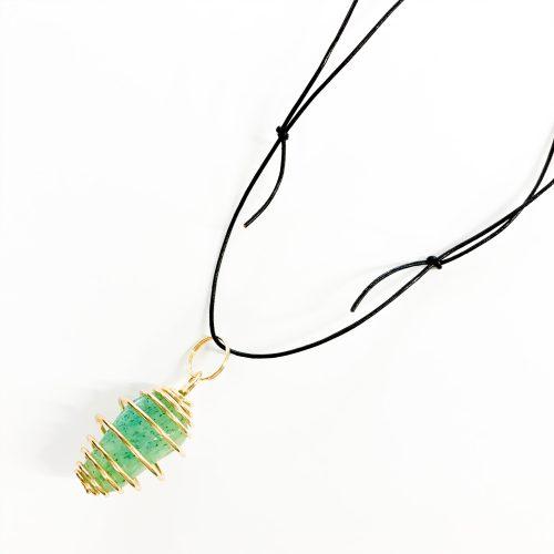 Green Aventurine stone cage pendant on black cord
