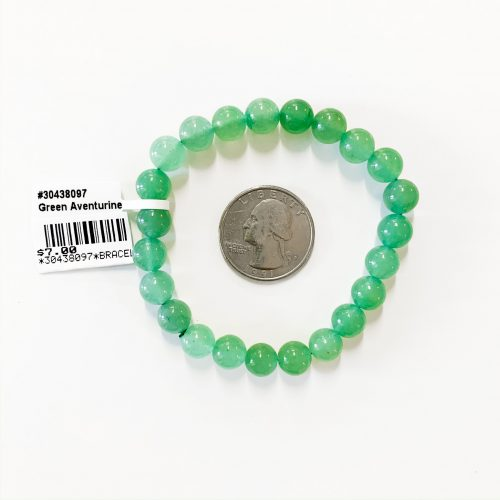 Green Aventurine Bracelet 8mm with Quarter