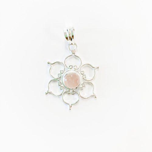 Rose Quartz Lotus Pendant