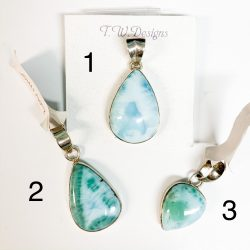 Larimar Pendants 1, 2, and 3
