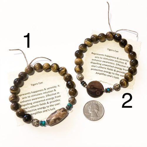 Mens Gold Tiger's Eye Bracelets with Quarter for Scale