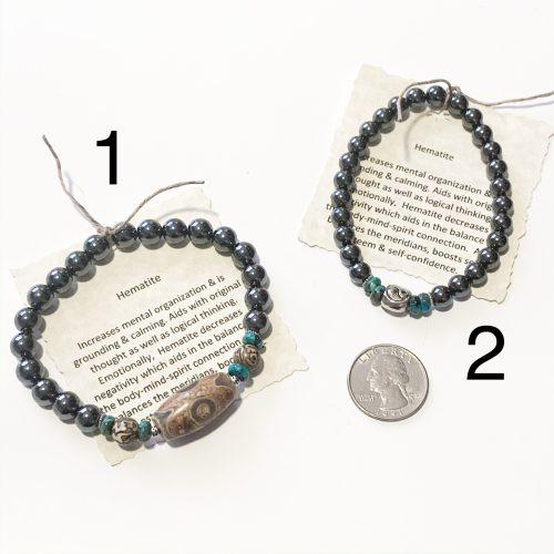 Men's Hematite Bracelet with Quarter for Scale