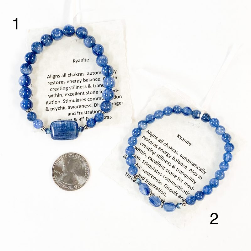 Kyanite Bracelets with Quarter for Scale