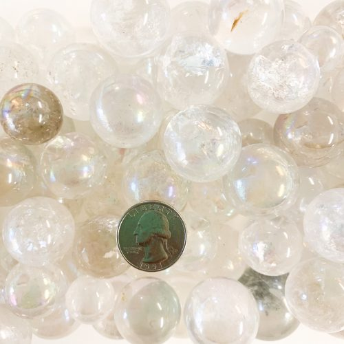 Angel Aura Quartz Spheres 2 with Quarter