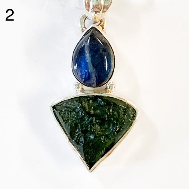Moldavite and Labradorite Pendant two alt view