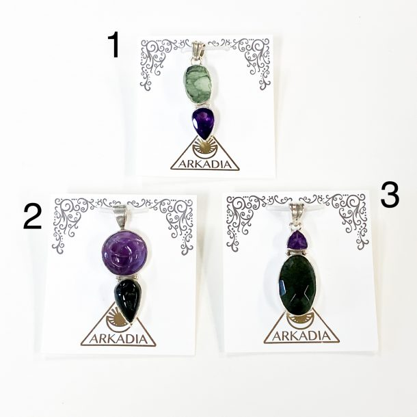 Moldavite and Amethyst Pendants