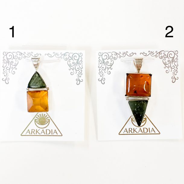 Moldavite and Amber Pendants