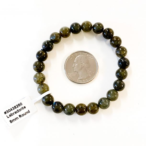 Labradorite Bracelet 8mm with Quarter