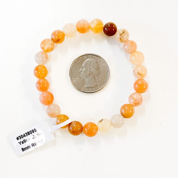 Yellow Jade Bracelet 8mm with Quarter