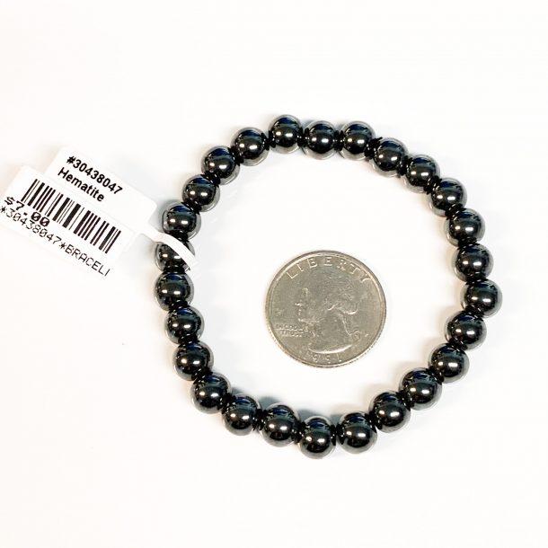 Hematite Bracelet 8mm with Quarter