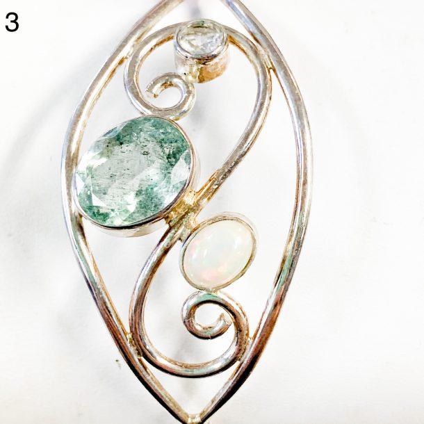 Aquamarine, Opal, and White Topaz