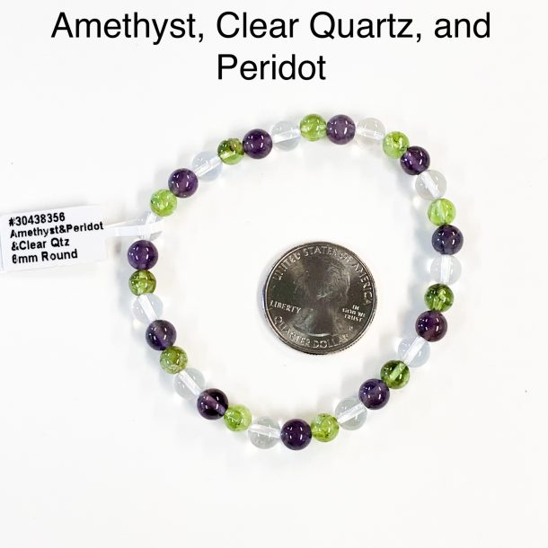 Amethyst, Clear Quartz and Peridot Bracelet