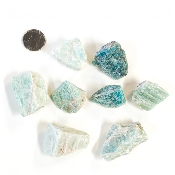 Amazonite Rough Pieces with Quarter for Scale