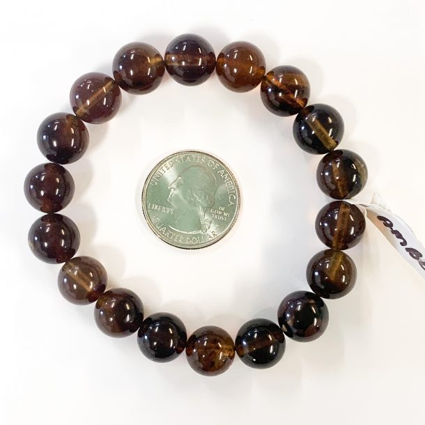 Amber Bracelet 12mm with Quarter for Scale