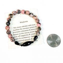 Rhodonite Bracelet with Onyx Accent Bead