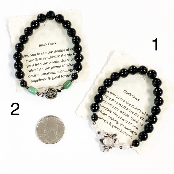 Black Onyx Bracelets 1 and 2 with Quarter for Scale