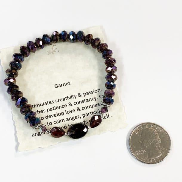 Garnet Bracelet Faceted with Quarter for Scale