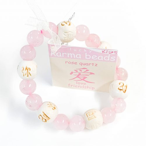 Bracelet 8mm Lucky Karma Beads - Kids Rose Quartz
