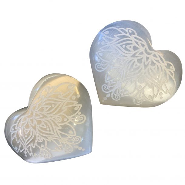 Selenite Hearts with Lotus Carving