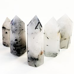 Tourmalinated Quartz Points Standing
