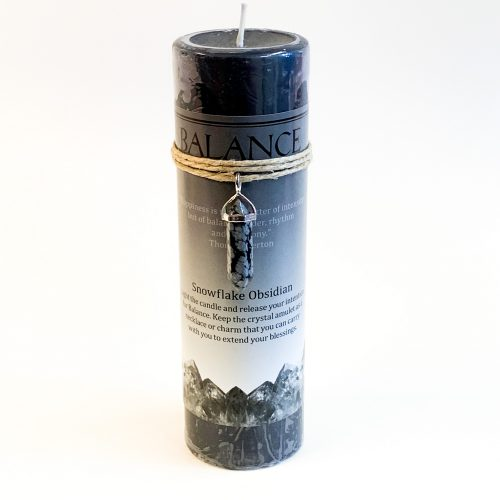Balance Energy Candle with Snowflake Obsidian Pendant