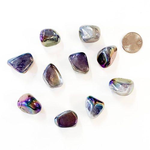 Amethyst-Rainbow-Laser-Treated-with-Quarter