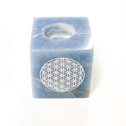 Angelite with Flower of Life Mini Candle Holder