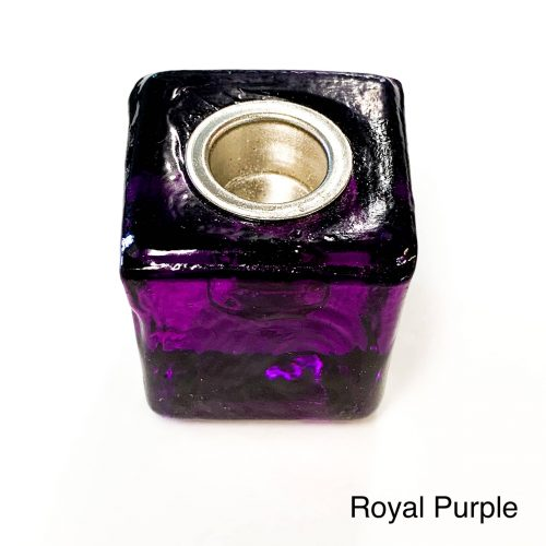 Chime Candle Holder Glass Cube - Royal Purple