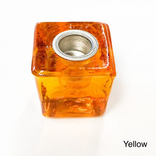 Chime Candle Holder Glass Cube - Yellow