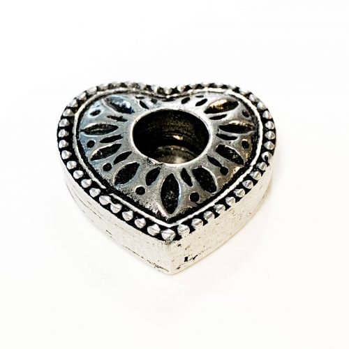 Silver heart mini candle holder
