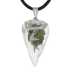 Moldavite on clear quartz pendant