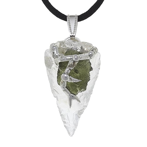 Moldavite on clear quartz pendant