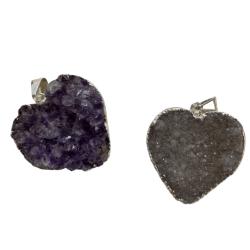 Amethyst Druzy Heart Pendant
