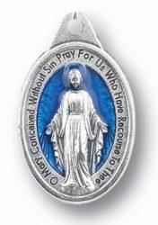 Miraculous Medal blue enameled