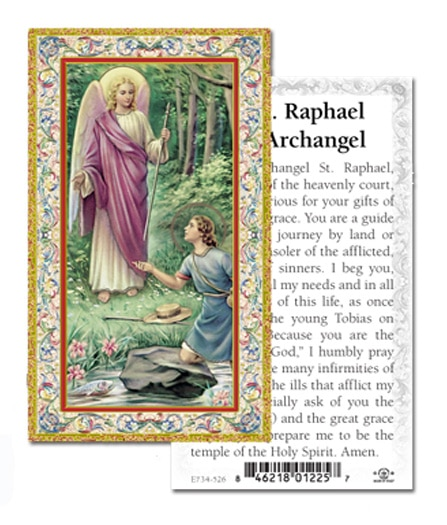 St Raphael Holy Card