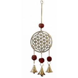 Flower of Life with Rudraksha Brass Bell Chime