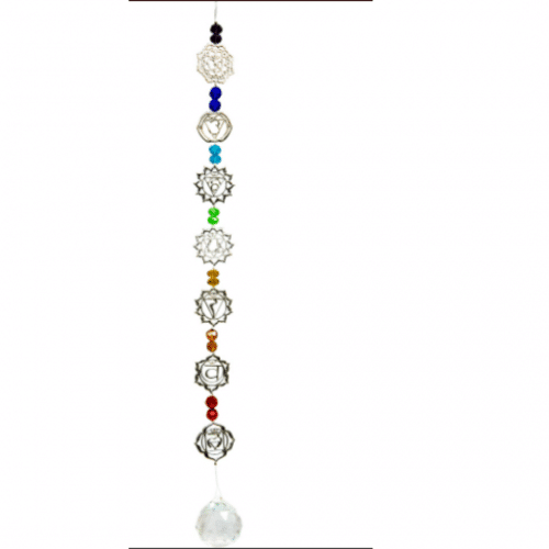 Hanging Crystal Glass Bead with Seven Chakras